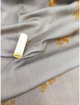 Tela de Gasa Bambula gris perla flores ocre