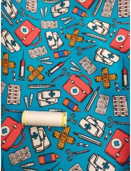 Tela de algodón sanitario fondo azul