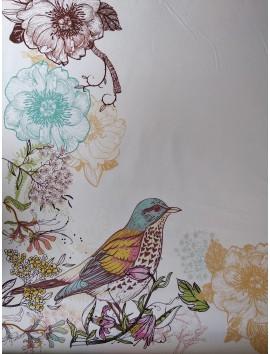 Estampado flores y pájaros, centro blanco