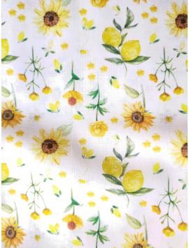 Tela de algodón flores y limones