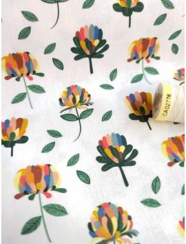 Tela de algodón tulipanes de colores