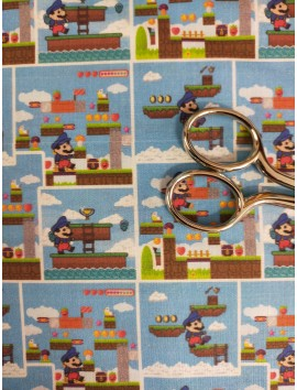 Tela de algodón Mario Bros