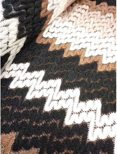 Punto tipo Missoni marrón y negro