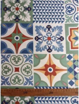 Estampado mosaico azulejos azules
