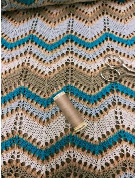 Punto tipo Missoni turquesa, marrón y blanco
