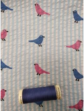 Tela de Gasa Bambula algodón pájaros