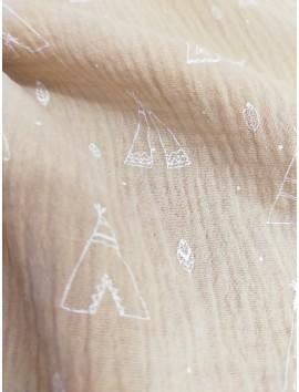 Tela doble gasa bambula algodón tipi gris