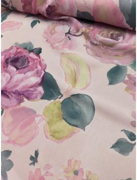 Tela de crepe (crespón) rosas