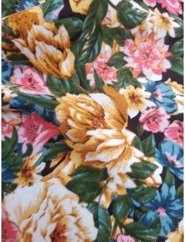 Tela crespón estampado flores azules y amarillas