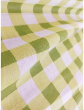 Batista de algodón cuadros verdes