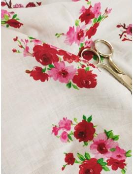 Batista de algodón flores