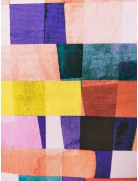 Tela de loneta algodón cuadros de colores