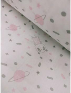 Tela sábana con dibujos rosas