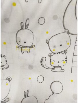 Tela sábana con dibujos letras baby amarillo