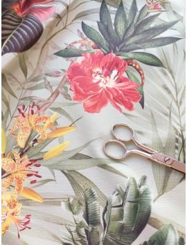 Tela de loneta de algodón con estampado floral