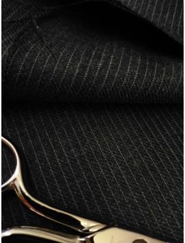 Tela de lana fria, raya diplomática negro