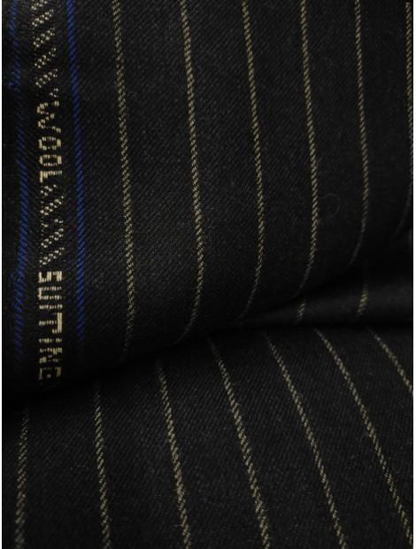Tela de sastre lana raya diplomática wool negro