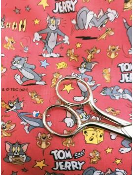 Tela de algodón Tom y Jerry fondo rojo