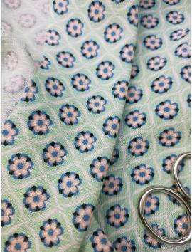 Tela bambula de viscosa azul floral