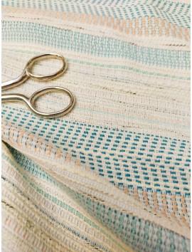 Tela Tweed franjas hilo azul turquesa