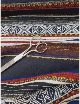 Tela Tweed grecas negro, rojo , azul y amarillo