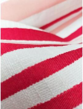 Tela Tweed rayas blancas, rojas y rosas