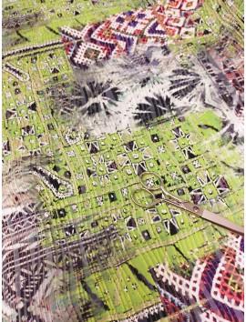 Tela de Punto efecto plisado, estampado verde