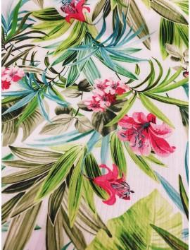 Tela de Punto tipo canale estampado floral verde