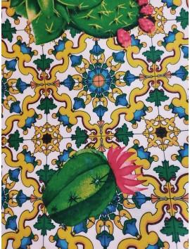 Tela de loneta cactus mosaico
