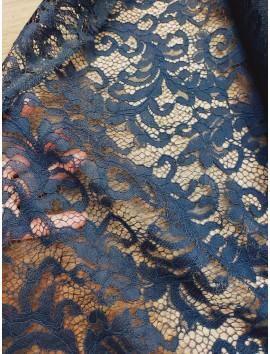 Tela de Encaje ramas azul marino