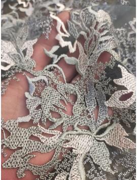 Tela de Tul Bordado flores tonos grises