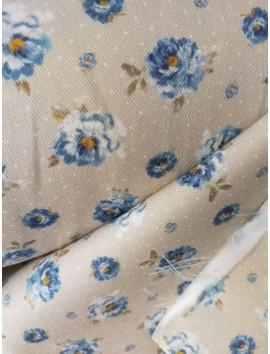 Gobelino flores azules fondo gris