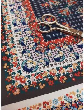 Satén estampado pañuelo flores  y cuadros