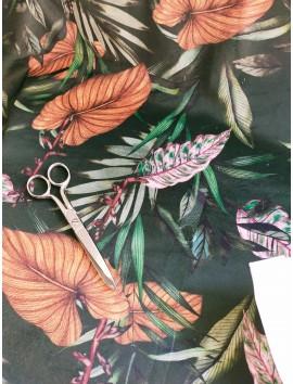 Terciopelo estampado hojas