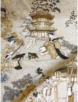 Tela Loneta con estampado japones