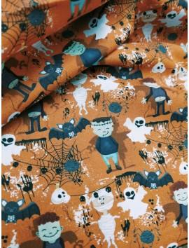 Tela de algodón halloween murcielagos fondo calabaza
