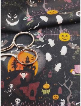 Tela de algodón halloween drácula fondo negro